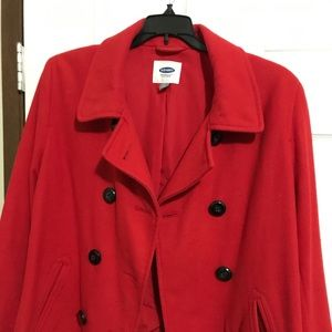 Red Old Navy Pea Coat.